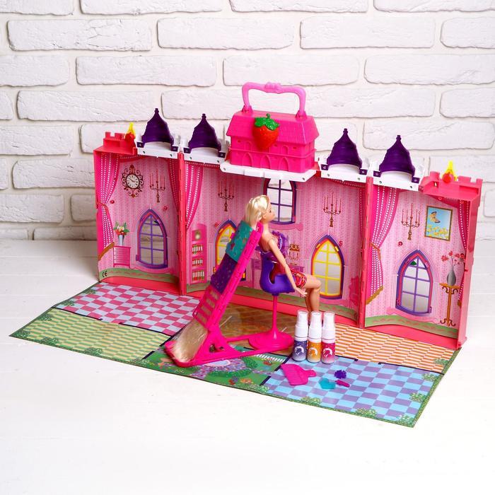 """Замок для кукол """"Сказка"""" с куклой шарнирной и аксессуарами для создания причёски"""