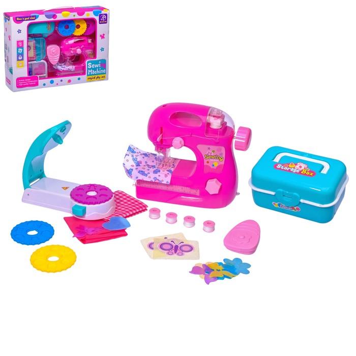 """Швейная машина """"Карамель"""" с катушкой и аппаратом для декора одежды, цвет розовый"""