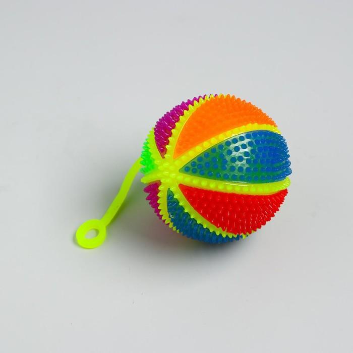 Мяч световой «Радуга», 7,5 см, с пищалкой, на резинке, цвета МИКС