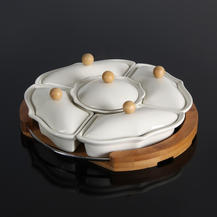 """Набор мисок для снэков """"Эстет"""", 5 предметов на деревянной подставке"""