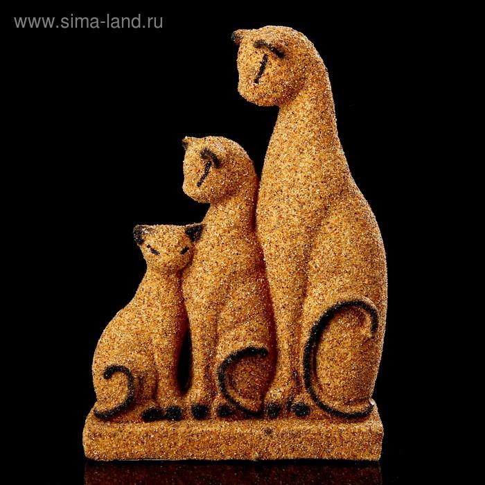 """Сувенир песок """"Кошачья семейка"""" желтые 17,5 см"""