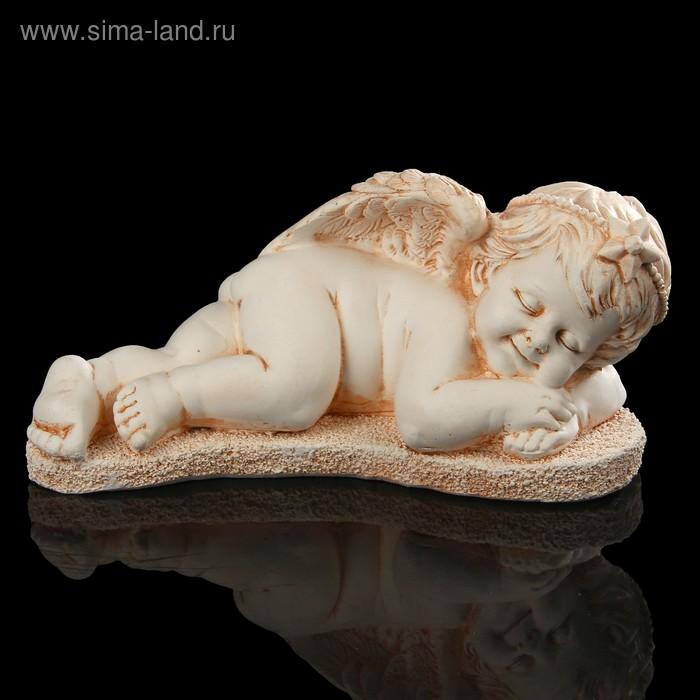 """Сувенир гипс """"Ангел со звездой лежит"""" (вправо) 10 см"""