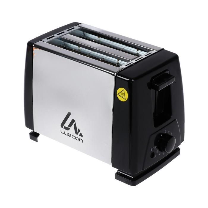 Тостер LuazON LT-03, 750 Вт, 6 режимов прожарки, 2 тоста, серебристый