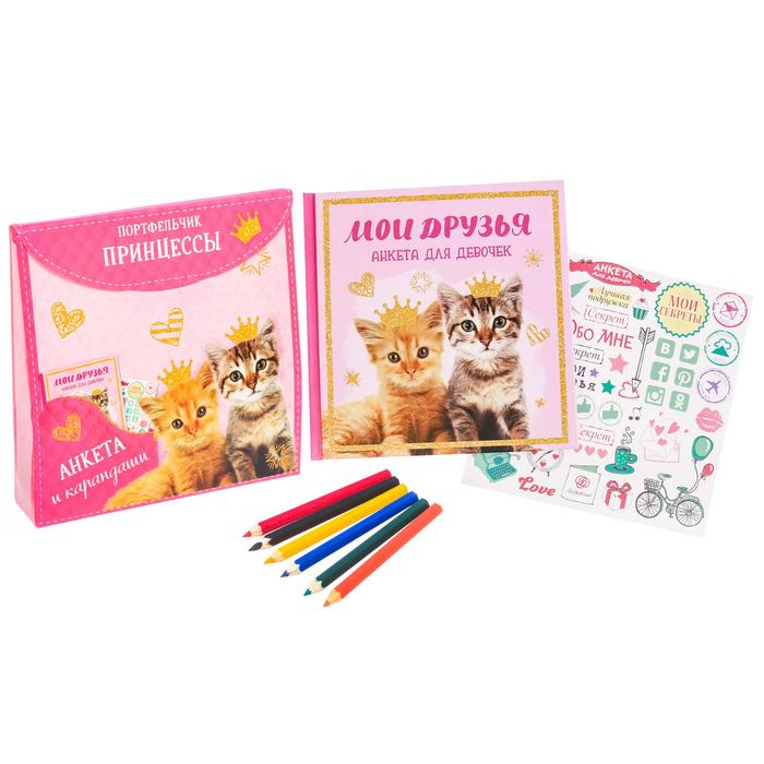 """Подарочный набор """"Портфельчик принцессы"""": анкета для девочек в твёрдой обложке с наклейками и карандаши, 6 шт"""