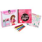 """Подарочный набор """"Сумочка модницы"""": анкета для девочек в твёрдой обложке с наклейками и карандаши, 6 шт"""