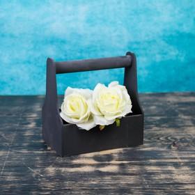 Кашпо деревянное 20×12.5×20 см Стелла Моно, с ручкой, чёрный Дарим Красиво