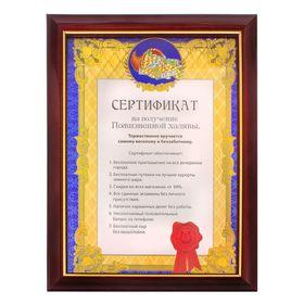"""""""Сертификат на получение пожизненной халявы"""", в рамке"""