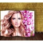 """Ширма """"Девушка с орхидеями"""" 200 × 160см, двухсторонняя"""