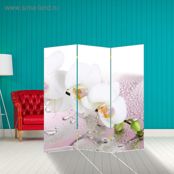 """Ширма """"Орхидея и капли воды"""" 150 × 160см"""