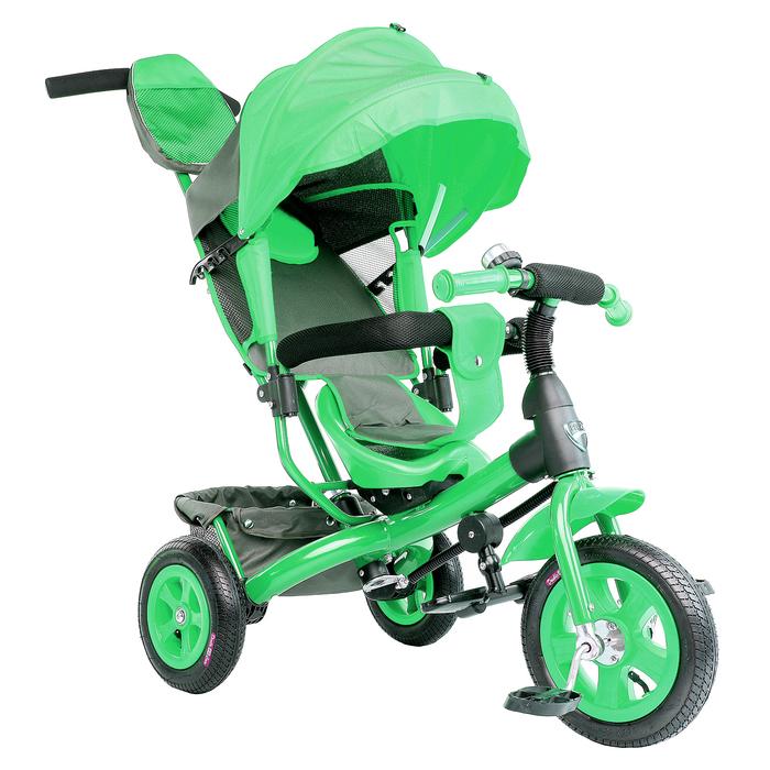 """Велосипед трёхколёсный «Лучик Vivat 1», надувные колёса 10""""/8"""", цвет зелёный"""