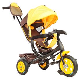 """Велосипед трёхколёсный «Лучик Vivat 1», надувные колёса 10""""/8"""", цвет коричневый/жёлтый"""