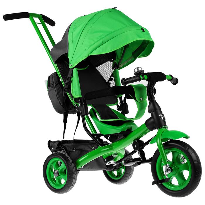 """Велосипед трёхколёсный «Лучик Vivat 2», колёса EVA 10""""/8"""", цвет зелёный"""
