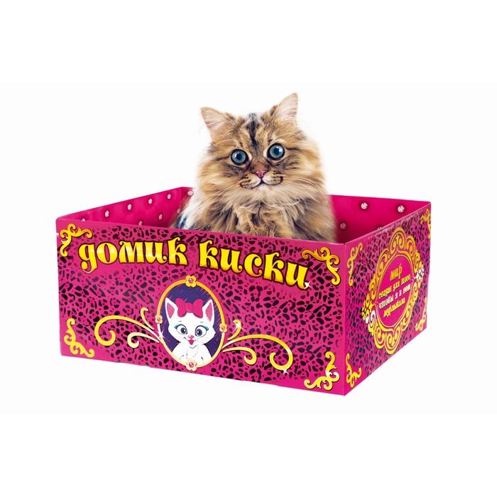 """Домик-коробка с матрасом """"Домик киски"""",открытая"""