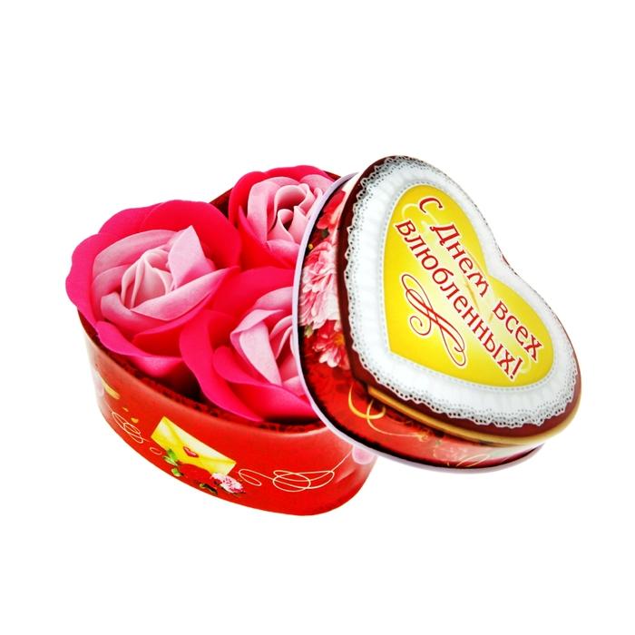 """Мыльные лепестки в шкатулке-сердце """"С днём всех влюблённых!"""", 3 шт."""