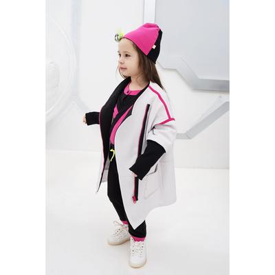 Пальто для девочки, рост 116 см, цвет белый/чёрный Н-ПТ-293