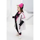 Пальто для девочки, рост 122 см, цвет белый/чёрный Н-ПТ-294