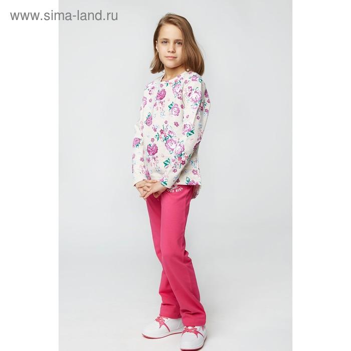 Свитшот для девочки , рост 128 см, цвет принт цветы
