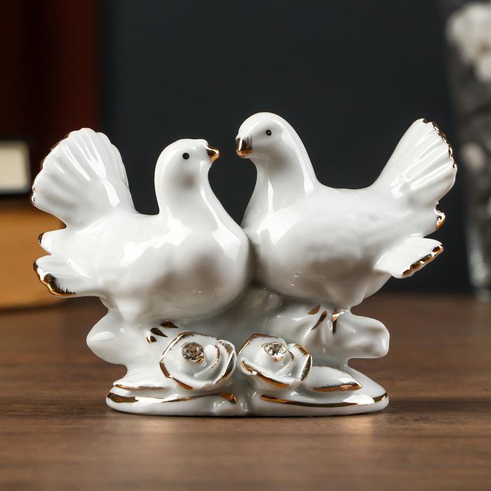 """Сувенир """"2 белых голубя"""" со стразами 9х12 см"""