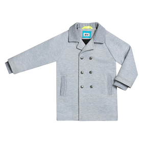 Пальто для мальчика, рост 122 см, цвет  цвет серый/бирюзовый Н-ПТ-280А