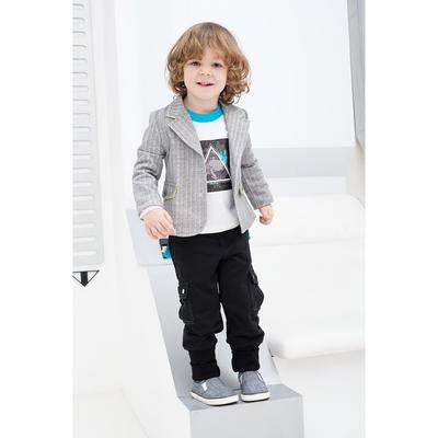 Пиджак для мальчика, рост 122 см, цвет  цвет серый/белый Н-ПЖ-280
