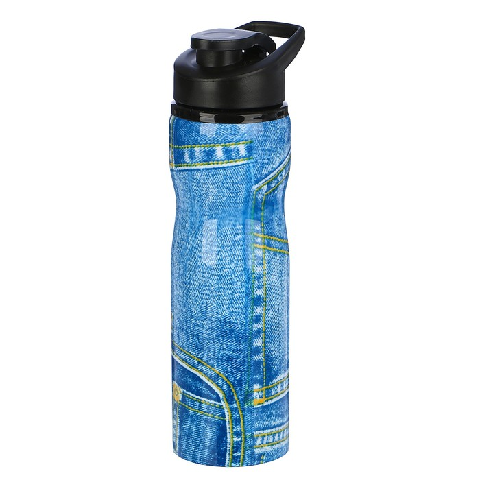 "Бутылка для воды ""Джинс"", 750 мл, спортивная, 8х25 см"