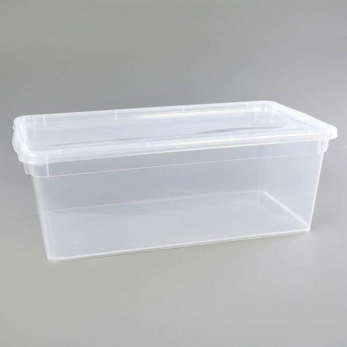 Контейнер для хранения с крышкой 37,5×21×14 см, цвет прозрачный - фото 301226459
