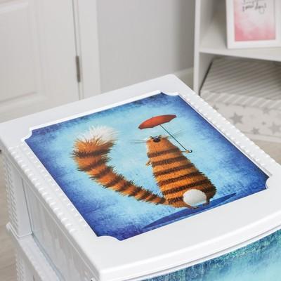 Комод детский 4-х секционный «Декор. Кот», цвет белый