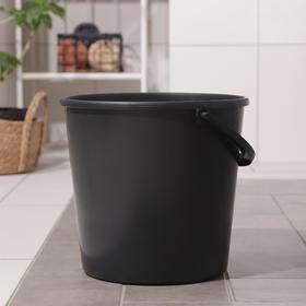Ведро хозяйственное с мерной шкалой, 12 л, цвет чёрный