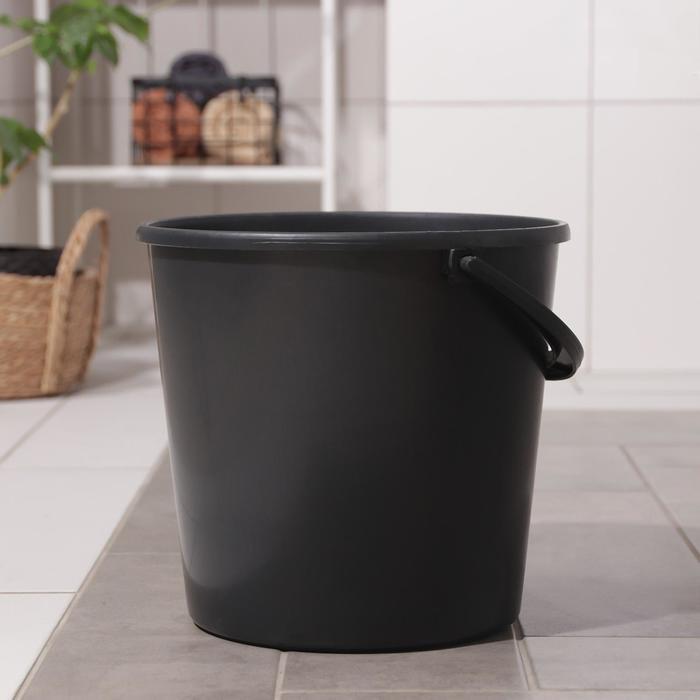 Ведро хозяйственное с мерной шкалой 12 л, цвет черный