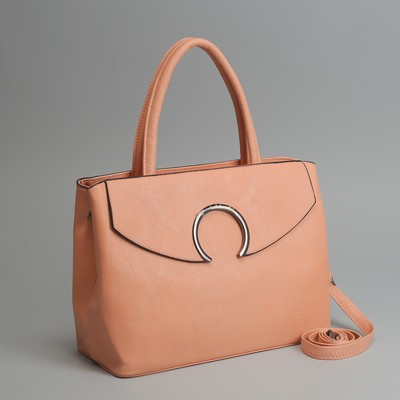 Сумка женская на молнии, отдел с перегородкой, наружный карман, длинный ремень, цвет персиковый