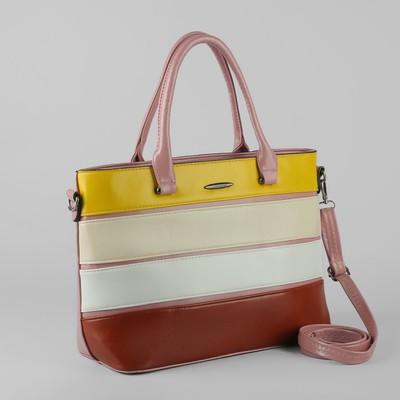 Сумка женская, отдел с перегородкой на молнии, наружный карман, длинный ремень, цвет розовый