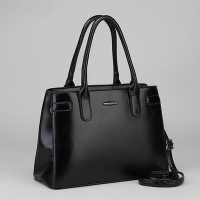 Сумка жен L-7444, 33*12*22, 2 отд на молнии, н/карман, длин ремень, черный