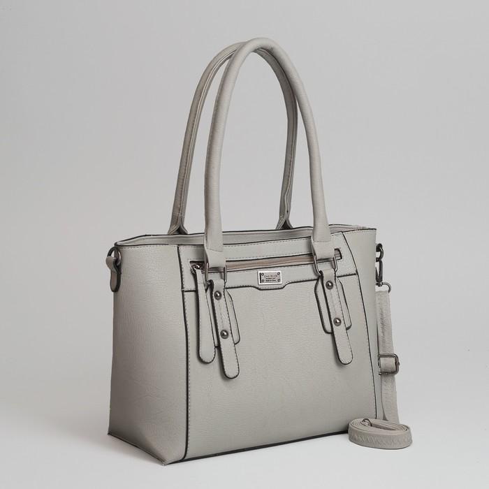 85a7ad9cc40e Сумка женская, отдел с перегородкой на молнии, 2 наружных кармана, длинный  ремень, цвет серый