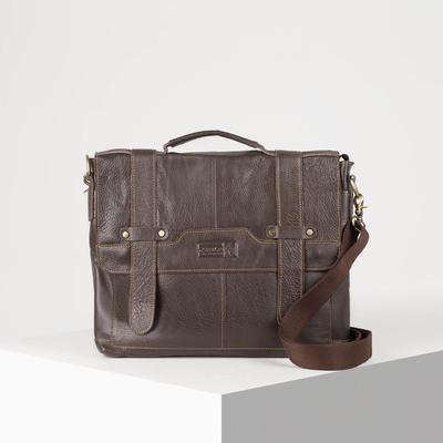 Портфель мужской, 1 отдел на клапане, длинный ремень, цвет коричневый