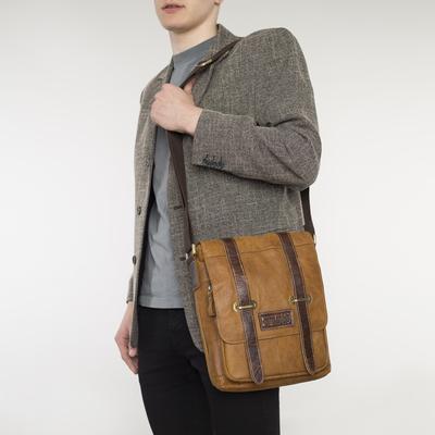 Планшет мужской, отдел на молнии, 3 наружных кармана, длинный ремень, цвет коричневый