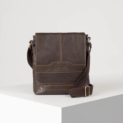 Планшет мужской, 1 отдел, наружный карман, длинный ремень, цвет коричневый