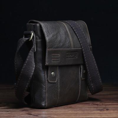 Планшет мужской, отдел на клапане, 2 наружных кармана, длинный ремень, цвет коричневый