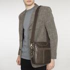 Планшет мужской, 16*6*20, 2 отделения на молнии, 2 кармана, длинный ремень, коричневый
