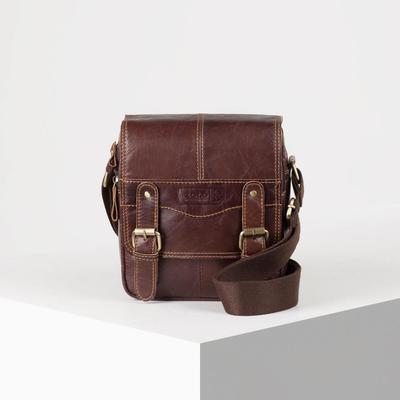 956831d0a24c Планшет мужской, отдел на клапане, 2 наружных кармана, длинный ремень, цвет  коричневый