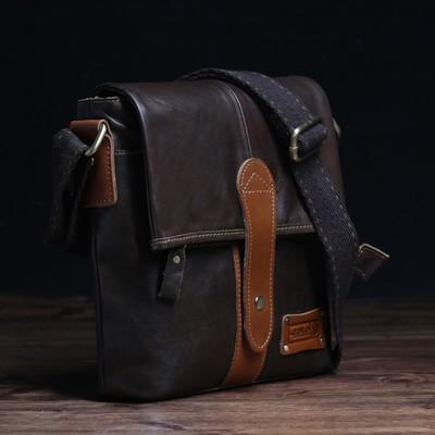 Планшет мужской, отдел на молнии, наружный карман, длинный ремень, цвет коричневый