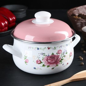 """Кастрюля 2 л """"Розовый букет"""", 16 см"""