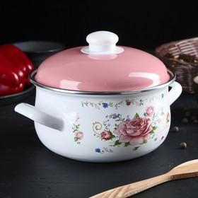 Кастрюля «Розовый букет», d=18 см, 3 л, эмалированная крышка