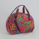 Саквояж, отдел на молнии, наружный карман, длинный ремень, цвет бордовый/разноцветный