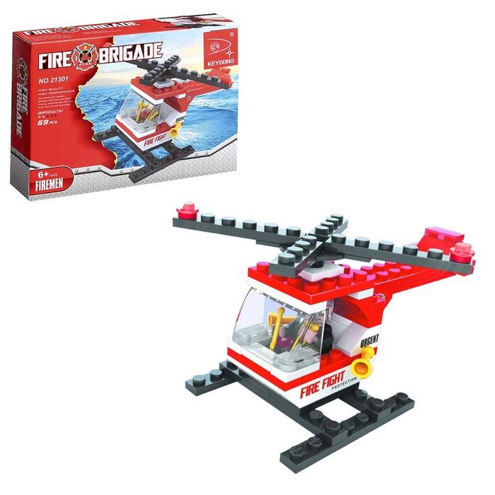 Конструктор Пожарная бригада «Вертолёт», 69 деталей - фото 106525985