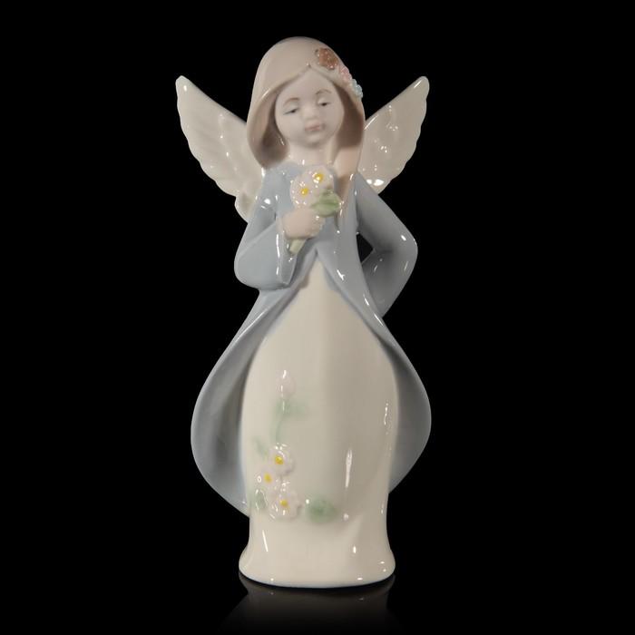 """Сувенир керамика """"Ангел-девочка в голубой накидке с цветами"""" 17,5х8,5х5,5 см"""