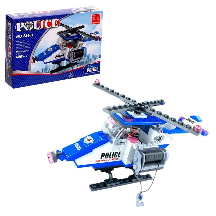 """Конструктор Патруль """"Полицейский вертолет"""", 126 деталей"""
