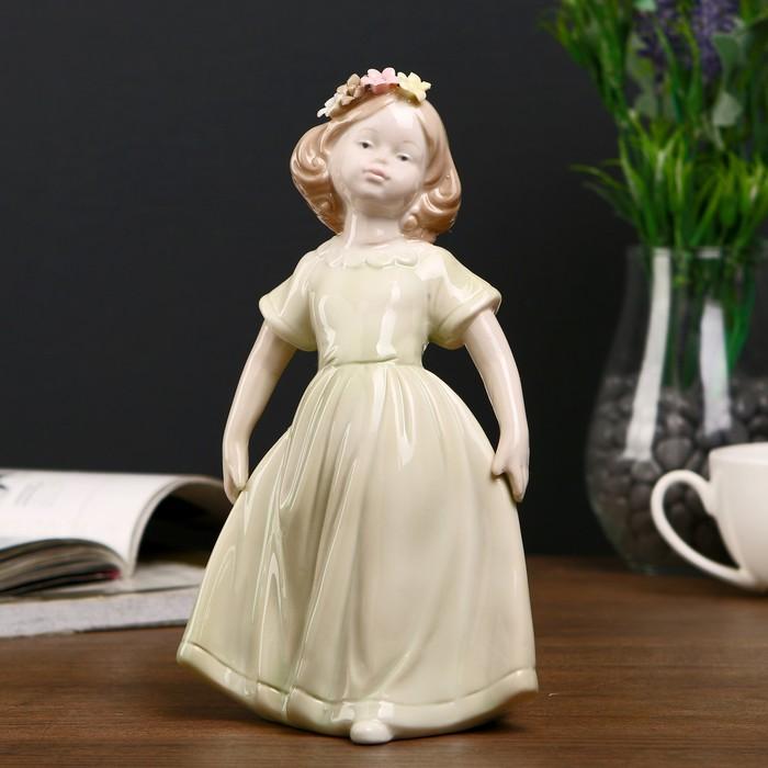 """Сувенир """"Девочка в зелёном платье с цветами в волосах"""" 19,5х11х9 см - фото 551391997"""