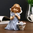 "Сувенир ""Девочка в голубом платье с корзиной роз"" 14х12,5х6,7 см"