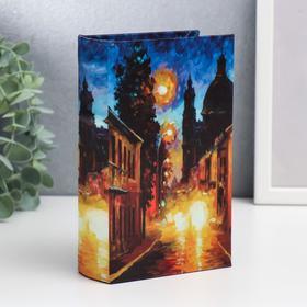 "Сейф-книга дерево под шёлк ""Улицы ночного города"" 17х11х5 см"