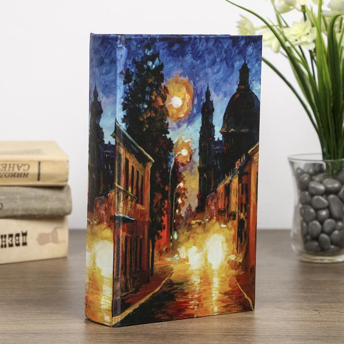 "Сейф-книга дерево под шёлк ""Улицы ночного города"" 21х13х5 см"